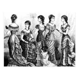Black And White Victorian Fashions Postcard