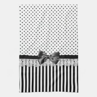 Black And White Victorian Stripes With Bow Kitchen Towel