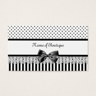Black And White Victorian Stripes With Ribbon Business Card