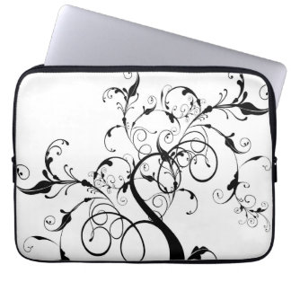 Black and White Vine or Tree Built with Flourishes Laptop Sleeve