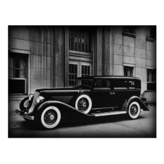 Black And White Vintage Car Photograph Postcard
