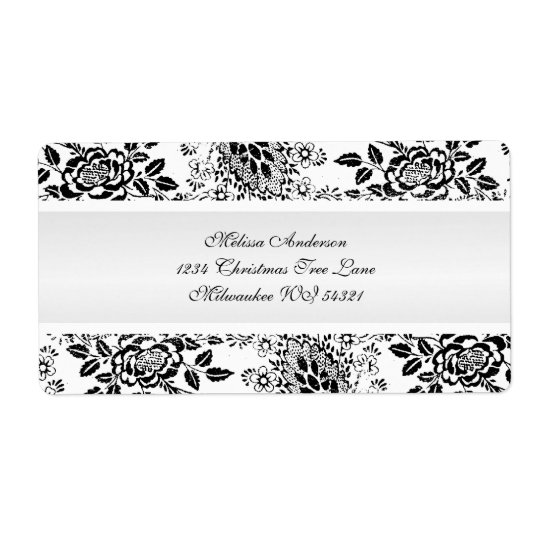 Black and White Vintage Damask Custom Shipping Label