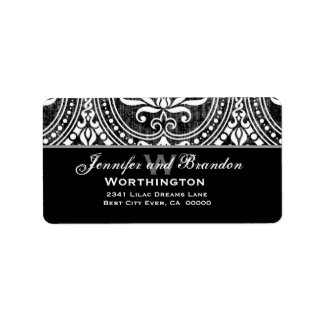 Black and White Vintage Damask Label