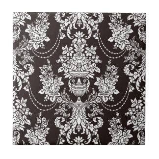 Black and white vintage  damask pattern customize tile