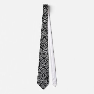 Black And White Vintage Damask Pattern Tie