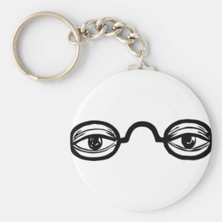 Black and White Vintage Eye Glasses and Eyes Keychain