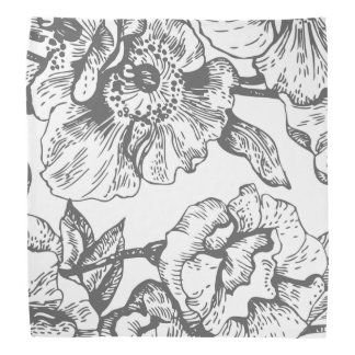 Black and White Vintage Floral Bandana