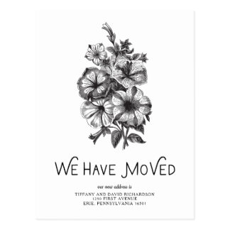Black and White Vintage Floral | Change of Address Postcard