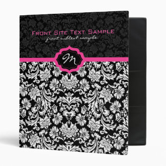 Black And White Vintage Floral Damasks Monogramed Vinyl Binders
