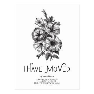 Black and White Vintage Floral | I Have Moved Postcard
