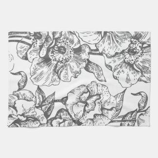 Black and White Vintage Floral Kitchen Towel