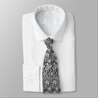Black And White Vintage Floral Pattern Tie