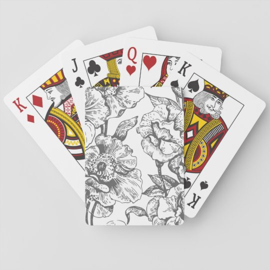 Black and White Vintage Floral Playing Cards