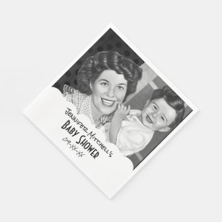 Black and White Vintage Mom and Child Baby Shower Napkin