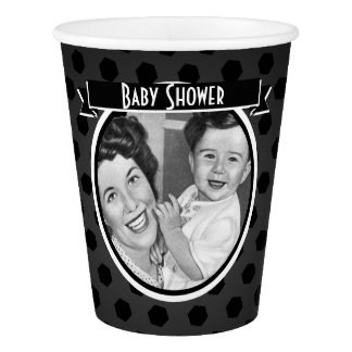 Black and White Vintage Mom and Child Baby Shower Paper Cup