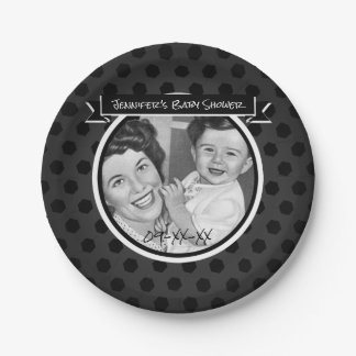 Black and White Vintage Mom and Child Baby Shower Paper Plate