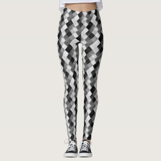 black and white vintage patchwork fabric design leggings