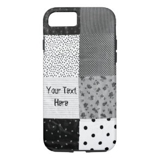 black and white vintage patchwork fabric retro iPhone 7 case