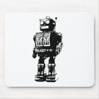 Black and White Vintage Robot Mousepads