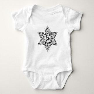 Black and White Vintage Star of David - Magen Davi Baby Bodysuit
