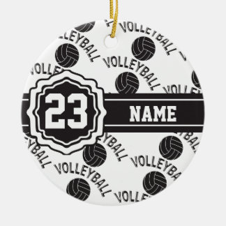 Black and White Volleyball Ceramic Ornament