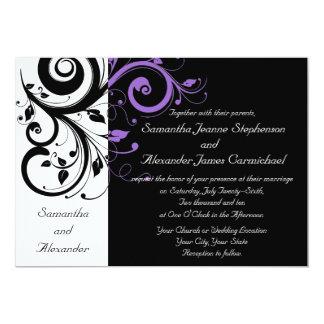Black and White w/Purple Swirl Wedding Invitations