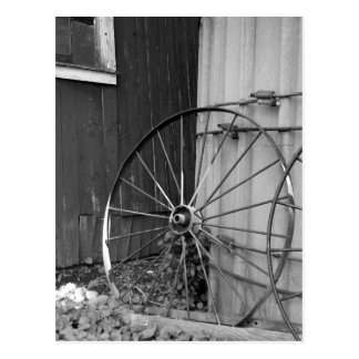 Black and White Wagon Wheel and Silo Postcard