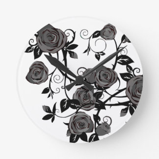 Black and White Wall Clock Design, Black Roses