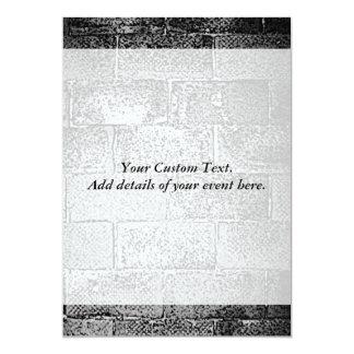 "Black and White Wall. Digital Art. 5"" X 7"" Invitation Card"