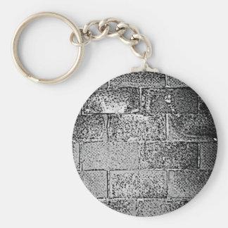 Black and White Wall. Digital Art. Basic Round Button Keychain