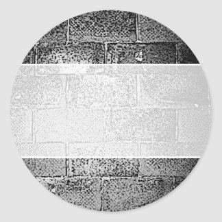 Black and White Wall. Digital Art. Round Sticker