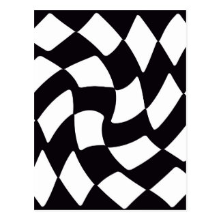 Black and White Warped Checkerboard Postcard