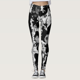Black and white water texture design, marbling leggings