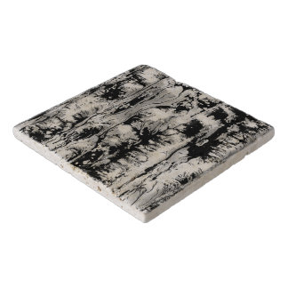 Black and white water texture design, marbling trivet