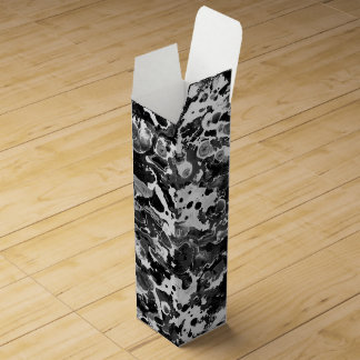 Black and white water texture design, marbling wine bottle boxes