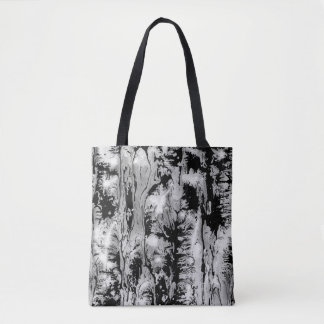 Black and white water texture design, rich, grunge tote bag
