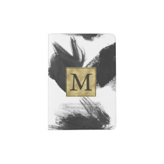 Black and White Watercolor Abstract Monogram Passport Holder