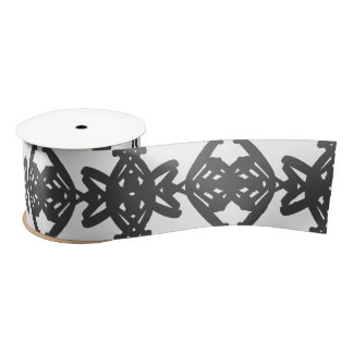 Black and White Watercolor Brush Swirl Pattern Satin Ribbon