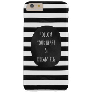 Black and White Watercolor Stripes Barely There iPhone 6 Plus Case