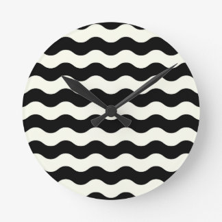 Black and white waves 50s edition round clock