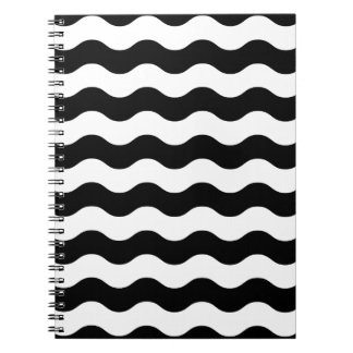 Black and white waves 50s edition spiral notebook