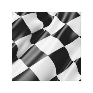 Black and White Waving Racing Flag Canvas Print