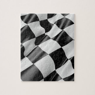 Black and White Waving Racing Flag Jigsaw Puzzle