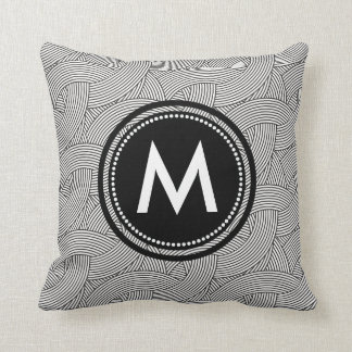Black and White Weave Pattern Custom Monogrammed Throw Pillow