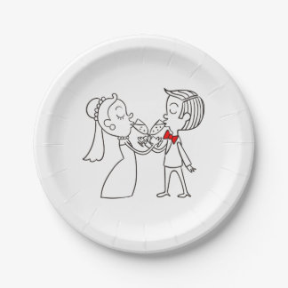 Black And White Wedding Bride And Groom 7 Inch Paper Plate