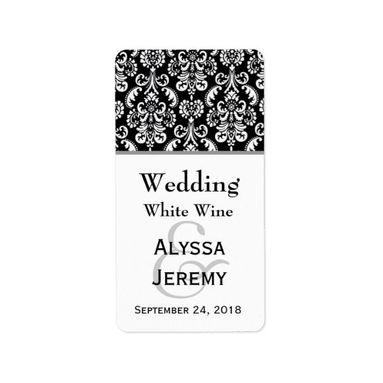 Black and White Wedding Damask Mini Wine Label