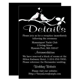 Black And White Wedding Details Lovebirds Doves Card