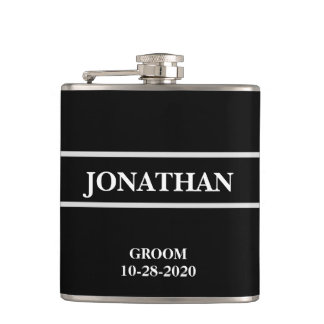 Black and White Wedding Flask