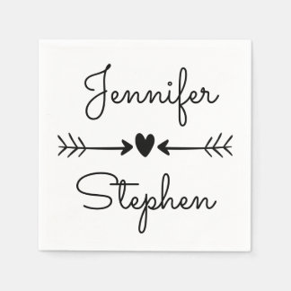 Black And White Wedding Heart & Love Arrows Paper Napkins