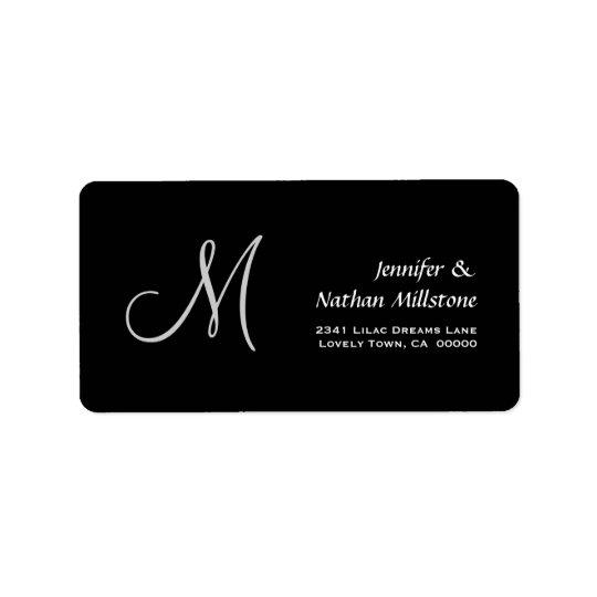 Black and White  Wedding Monogram Label